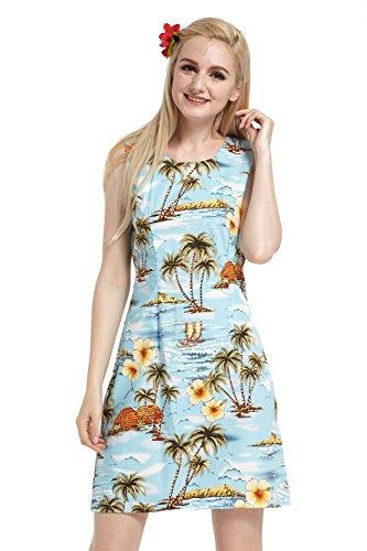 Hecho en Hawai Mujer hawaiano Luau Vestido de tanque Palms Houses Barcos de todo en azul Palms Houses Boats All Over in Blue