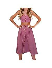 Hennta Sexy para mujer Dos piezas de vacaciones Bowknot con cordones Botones de playa Tops Falda Conjunto