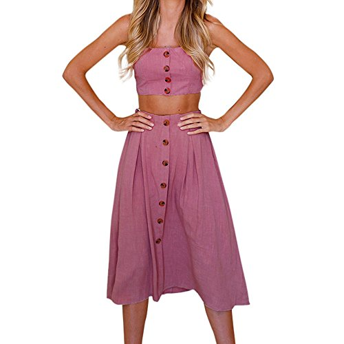 HGWXX7 Women Sexy Solid Two Pieces Backless Bowknot Dress Buttons Tops Skirt Set (S, Hot Pink) from HGWXX7