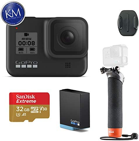 GoPro HERO8 Black Action Camera w Extra Battery and GoPro The Handler Floating Hand Grip and 32GB Memory Card
