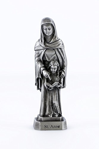 - Pewter Catholic Saint St Anne Statue with Laminated Prayer Card, 3 1/2 Inch