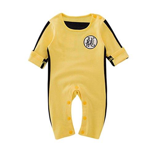 PENATE Toddler Baby Boy Chinese Dragon Bruce Lee Cotton Bodysuit Footie Jumpsuit (Yellow, 24M)
