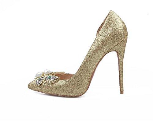 xie Femmes Fines Hautes Talons Côté Poinçon Pointu Pointues Chaussures de Nuit Super Flash Femmes Chaussures Chaussures de Mariage, Gold, 41