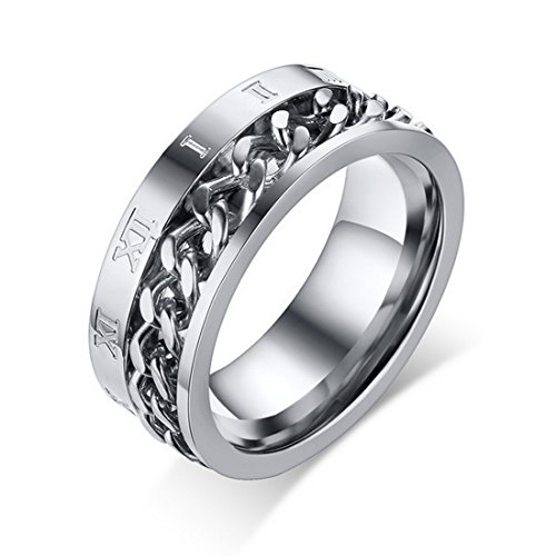 Fashion Men's Roman Numerals Ring Link Spinner Stainless Steel for Engagement Wedding Band (Silver, ()