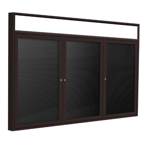 Ghent 48''x96'' 3-Door Outdoor  Enclosed Vinyl Letter Board, Black, Bronze Alum Frame w/Illuminated Headliner by Ghent