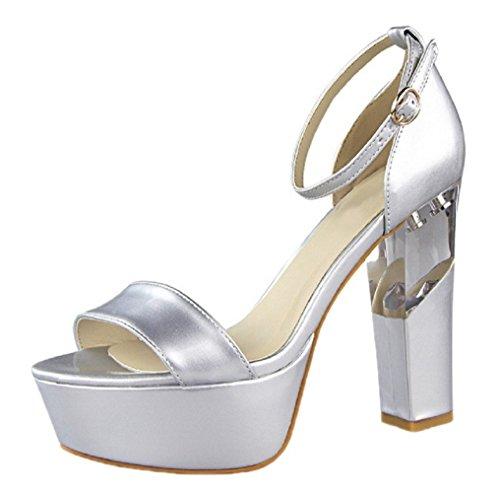 HooH Women's Peep Toe Transparent Platform Buckle Wedding Sandals Silver yRfm1DH3o
