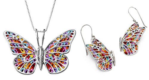 925 Sterling Silver Butterfly Jewelry Set Multi-Colored Polymer Clay Necklace and Dangle Earrings, 16.5