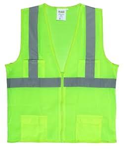 Cordova VS271PL Class II Mesh Surveyors Vest, Silver Stripes, Zipper Closure with Four Front Pockets, Lime, Large
