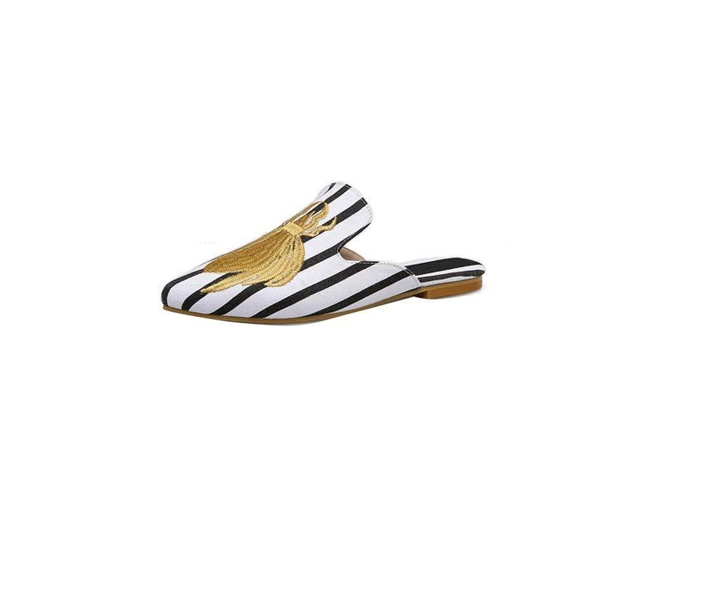 YUCH Paresseuses Chaussure Femme YUCH Brodée Porter des Chaussures Paresseuses des À L Extérieur White c34dc4a - piero.space