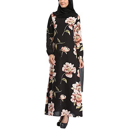 (Outique Muslim Women Maxi Dress Flower Embroidery Open Long Cardigan Lace Sequin Kimono Abaya Robe Kaftan Black)