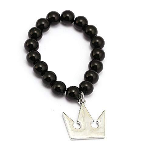 Algol - Game Kingdom Hearts Bracelets Crown Darts Charm Handmade Natural Black Onyx Beads Bracelet Men Women Bangle Jewelry Accessories