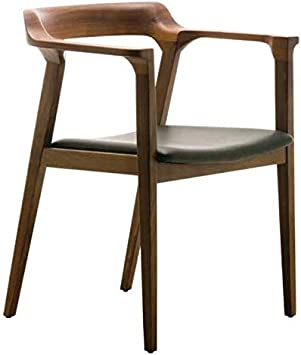Amazon Com Maklaine Leather Dining Arm Chair In Black And Walnut Chairs