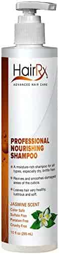HairRx Professional Nourishing Shampoo with Pump, Luxurious Lather, Jasmine Scent, 10 Ounce