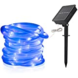 LTE Solar Rope Lights LED String Lights Waterproof Solar Powered Decoration Light for Gardens, Patios, Homes, Parties 33ft 100 LEDs Blue