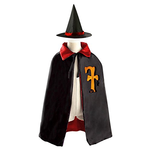 Red Riding Hood Movie Costume Pattern (SEBIDAI Name Letter F Monogram Witch Cloak Reversible Cosplay Costume Satin Cape for Kids Boys Girls)