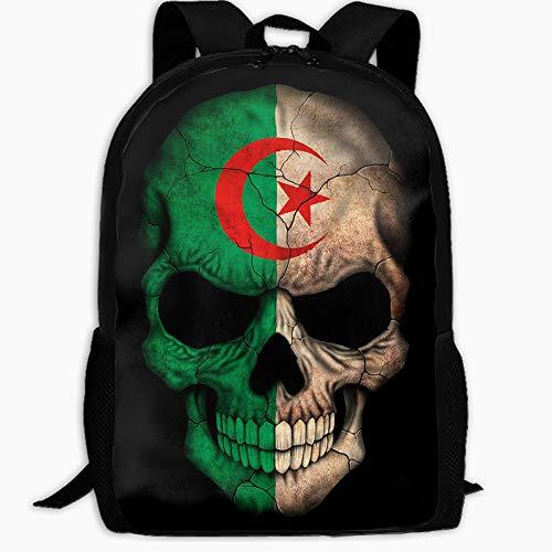 Unisex Fashion Algerian Flag Skull Travel Bag