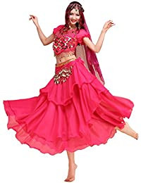 Pilot-trade lady's Belly Dance Costume Colorful Top&3 Layers Skirt&Hip Scarf