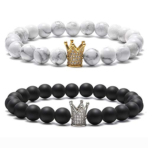 Bead Baby Bracelet - M MOOHAM Couples Bracelet King and Queen - 8mm Natural White Turquoise Black Matte Agate Bead Couples Bracelets for Women Couples Stress Relief Yoga Beads CZ Crown King Bracelet for Her