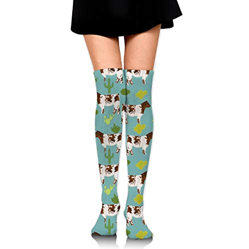 GERSWEET Women Lady Girl Shorthorn Cattle and Cautus Knee High Fashion Comfortable Boots Socks Cotton Athletic Over The Knee Tube Socks Thigh High Stockings for Great Gifts