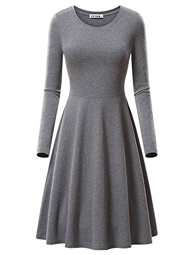 VETIOR Round Neck, Women's Fashion Round Neck Knee Length Dress 17033-9 Medium Grey