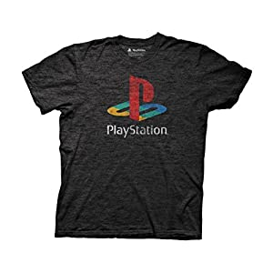 Ripple Junction Playstation Distressed Retro Color Logo Adult T-Shirt Large Heather Charcoal