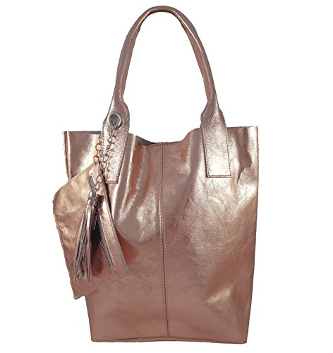 Made Pour Metallic Femme Cabas Italy In Freyfashion Roségold RxwdFqq