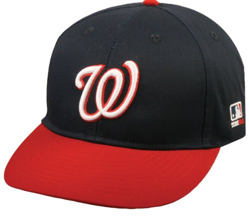 "Washington Nationals ""NAVY/RED W"" YOUTH Cap (NEW CF2 VISOR Shaped for Curve or Flat) MLB Adjustable Velro Replica Baseball Hat"