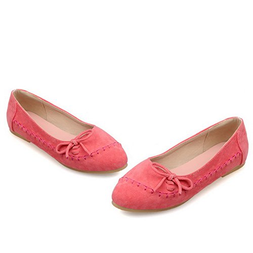 VogueZone009 Women's Pull On Round Closed Toe No Heel Solid Flats-Shoes Pink 0FJIn