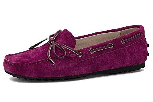 Ozzeg Kvinna Läder Komfort Slip-on Öre Loafer Platta Skor Gris Läder Rödvin