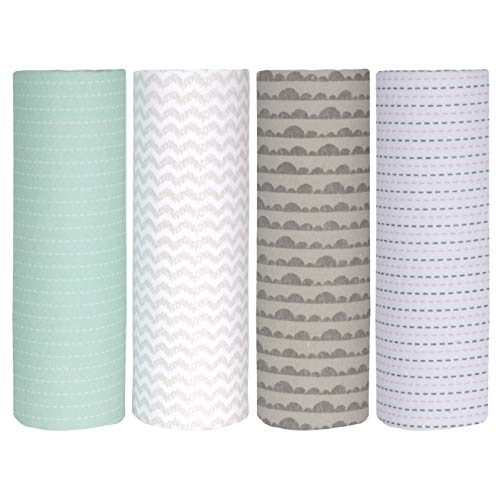 Cuddles & Cribs Cotton Flannel Receiving Blankets - 4 Count, Cloudy Lines ()
