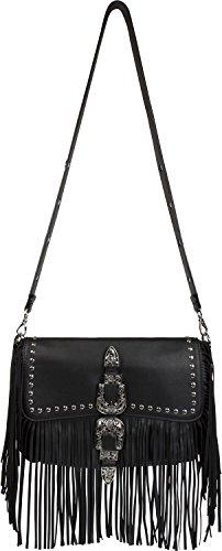 borsa e da tracolla borsa borsa a a styleBREAKER donna decorata borchie frange a Nero 02012228 e con fiori foglie colore spalla fibbia borsa con Rosa mano qHxAXR
