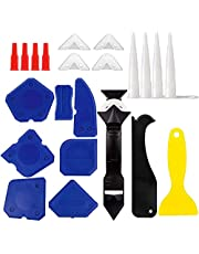 23PCS Caulking Tool Kit, WOVTE Silicone Tool Kit with Caulk Remover Sealant Finishing Tool, 3 in 1 Grout Scraper, Caulk Remover Nozzle and Caps 3 Replacement Pads Mastic Tools