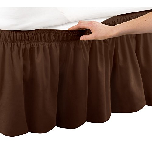 Wrap Around Bed Skirt, Easy Fit Elastic Dust Ruffle, Brown,