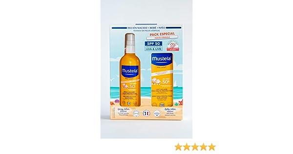 Mustela Spray Solar 200ml (SPF 50) + Leche Solar 100ml (SPF 50) Pack especial nueva fórmula: Amazon.es: Bebé