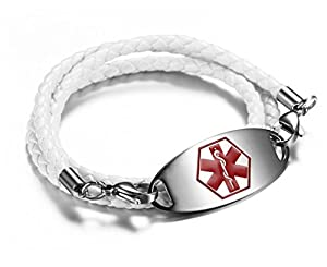JF.JEWELRY Medical Alert Bracelet for Women with Microfiber Leather Braided Band, Free Engraving