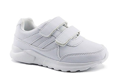 White Uniform Shoes - Jabasic Kids Black/White Hook and Loop School Uniform Sneaker(12,White)