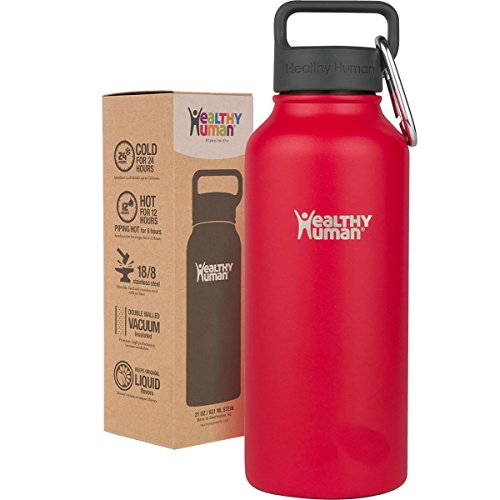 Healthy Human 32 oz Water Bottle - Cold 24 Hrs, Hot 12 Hrs. 4 Sizes & 12 Colors. Double Walled Vacuum Insulated Stainless Steel Thermos Flask with Carabiner & Hydro Guide. Color: Red Hot