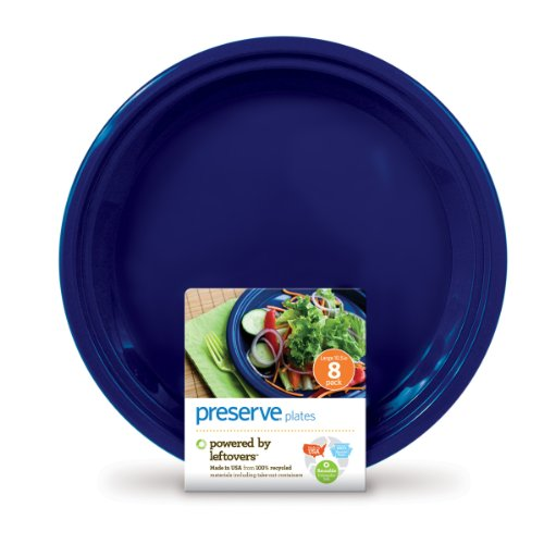 Preserve On the Go Large Plates, Set of 8, Midnight Blue (Athena Dining Set)