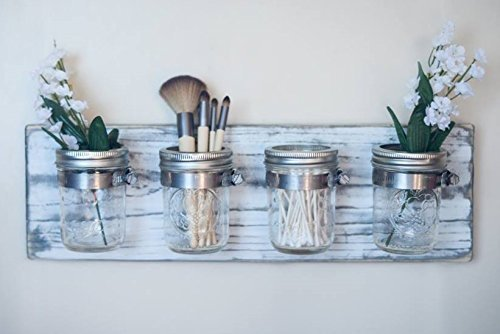Mason Jar Decor, Bathroom Organizer / Toothbrush Holder, by Blackwater Handmade
