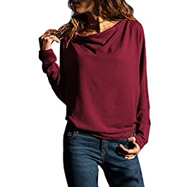 HOTAPEI Womens Casual Long Sleeve Crewneck Pullover Sweatshirts Loose Fit T Shirts Tops Blouses