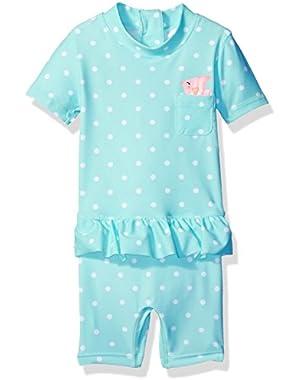 Baby Girls' Short Sleeve One Piece Full Body Rash Guard