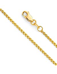 14k Yellow OR White Gold 1.5mm Hollow Square Franco Chain Necklace with Lobster Claw Clasp