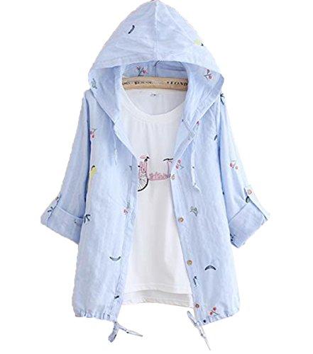 [ジャンーウェ] 春 夏 カーディガン UVカット 冷房対策 綿麻 ジャケット 女の子 フード付き 長袖 刺繍