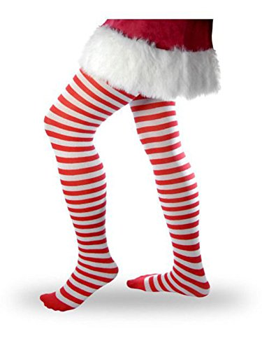 Women's Striped Tights - Red and (Elf Tights Womens Costumes)