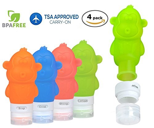 Eiker Travel Bottles Silicone Containers Set, Red/Orange/Green/Blue, 90ml, Set of 4 Valve Spring Collars