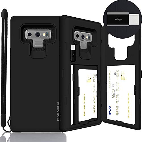 Galaxy Note 9 Case, SKINU [Note 9 Wallet Strap] Note 9 Charger Dual Layer Hidden Credit Holder Card Case with Wrist Strap Inner USB Type C Adapter and Mirror for Galaxy Note 9 (2018) - Black
