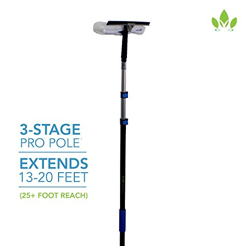 EVERSPROUT Pro-Series 7-to-20 Foot Squeegee Window Scrubber (25+ Ft. Reach) | 2-in-1 Window Cleaning Combo | Extra-Wide 16'' Squeegee with Light-Weight, Aluminum Extension Pole by Eversprout (Image #1)