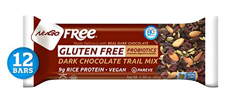NuGo Free Dark Chocolate Trail Mix, 9g Vegan Protein, Probiotics, Gluten Free, Soy Free, 190 Calories, 12 ()