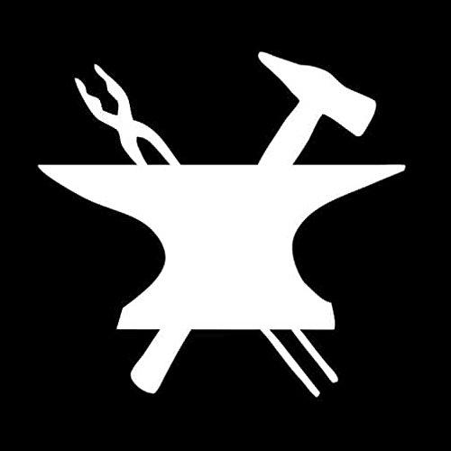 Greek Gods Emblem Anvil Decal Vinyl Sticker|Cars Trucks Vans Walls Laptop| White |5.5 x 4 in|LLI126 ()