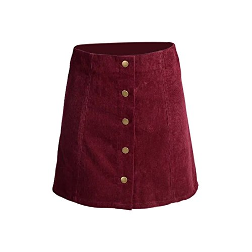 LEEZO Women Winter Mini Skirts Petite Vintage Corduroy Button Front A-Line Skirt Wine Red (Mini Petite Skirt)